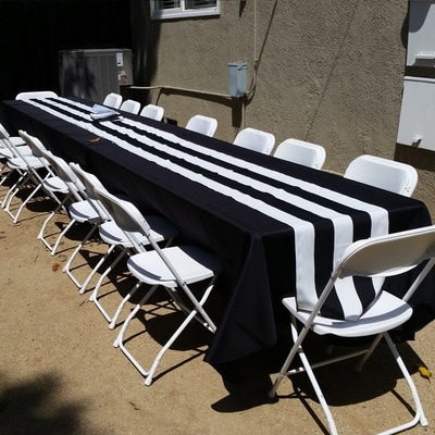 black padded folding chairs party decorations chair covers 8 ft rectangular tables for rent | wedding banquet los angeles, ca - big blue ...