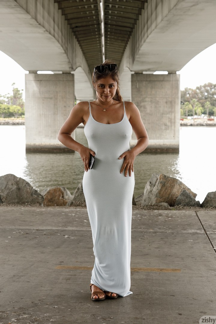 Ella Knox braless in a white dress for Zishy  Big Boobs Alert