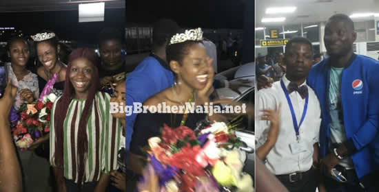 Evicted Housemates Ahneeka and Angel Are Welcomed By Masses On Arrive Back In Nigeria