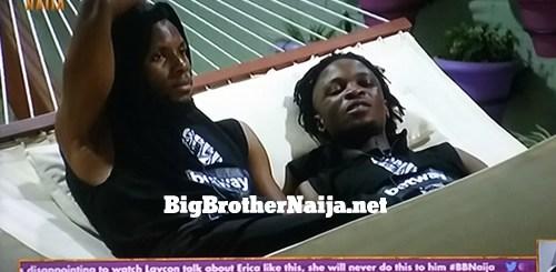 Big Brother Naija 2020 Day 12: Brighto and Laycon talk about Erica