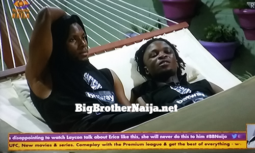 Big Brother Naija 2020 Day 12: Brighto and Laycon talk about Erica