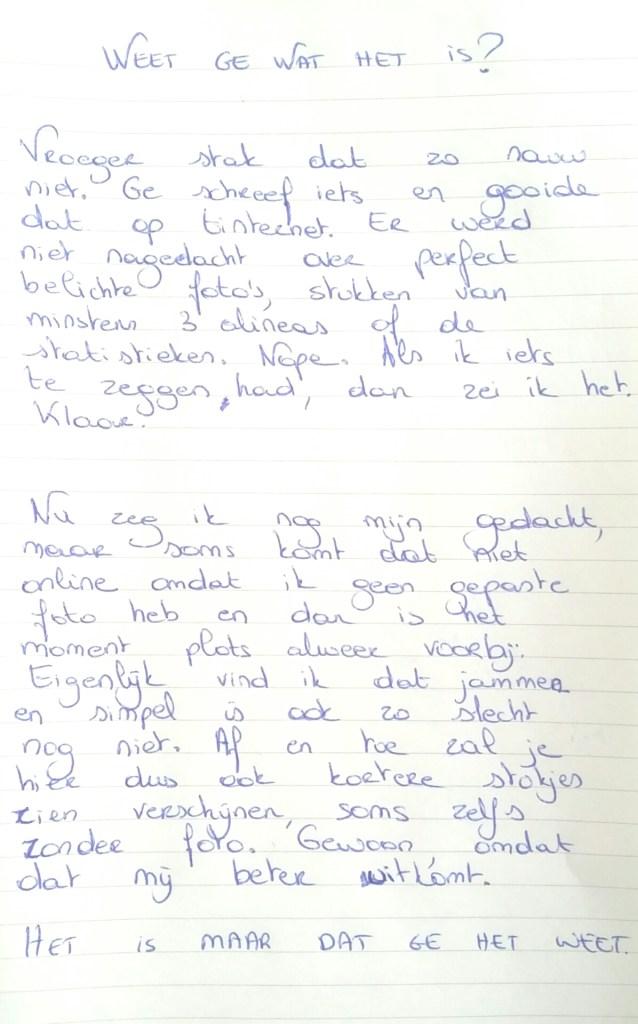 handgeschreven blogpost
