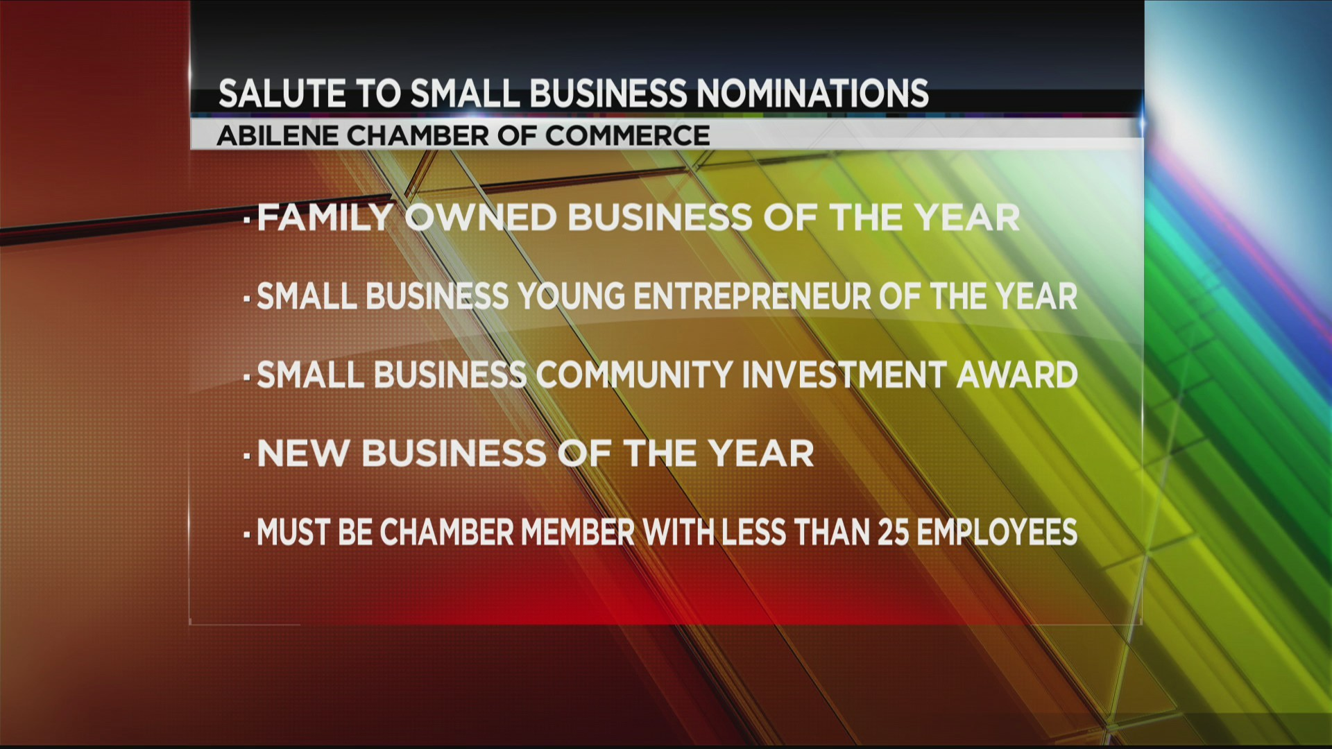 Small Business Awards nominations due to Abilene Chamber of Commerce Friday