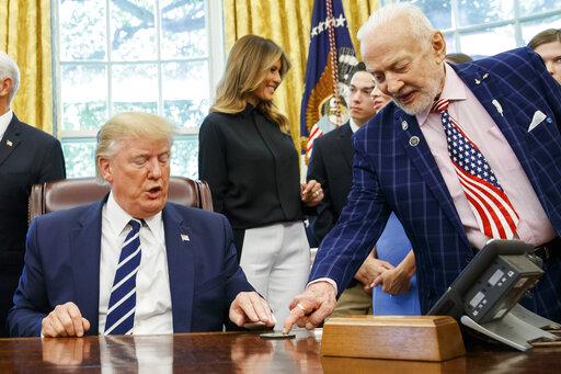 Donald Trump, Buzz Aldrin, Melania Trump