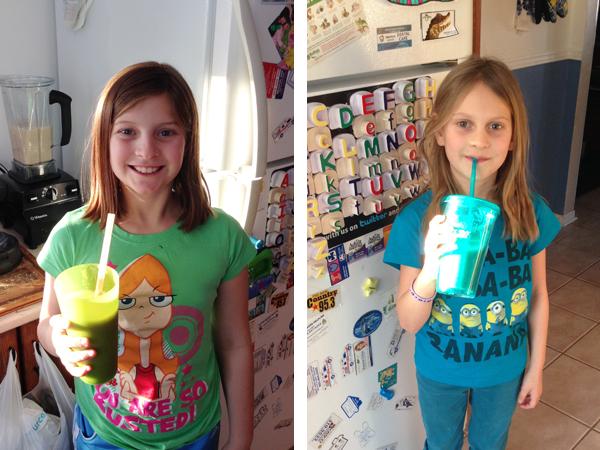 girls drinking apple smoothie