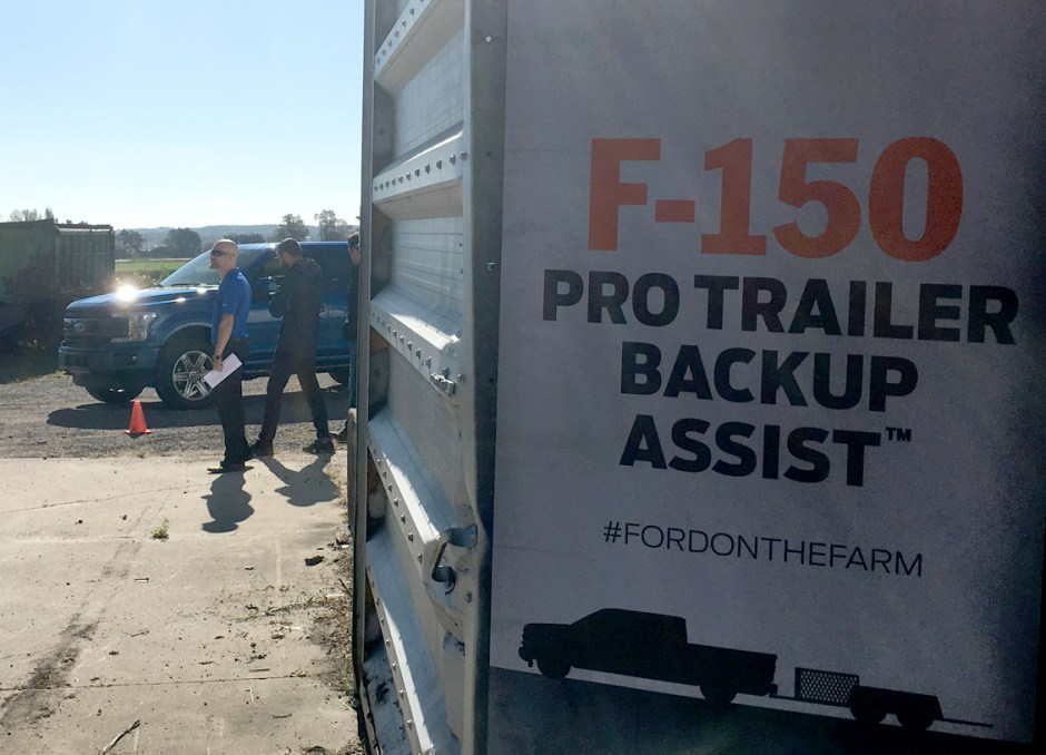 farm pro trailer backup assist sign