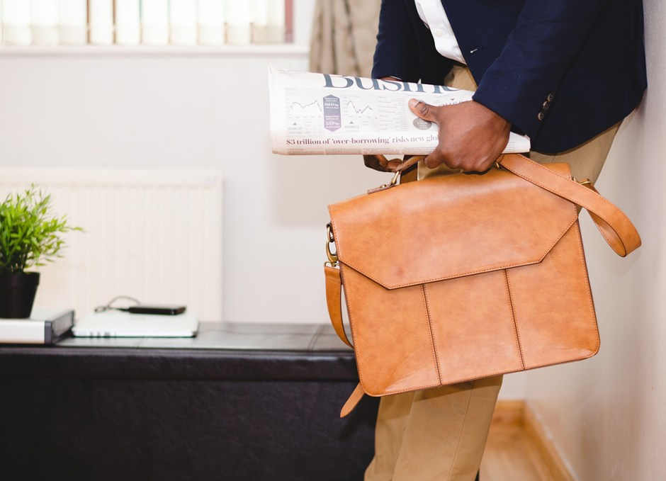 printing briefcase and newspaper