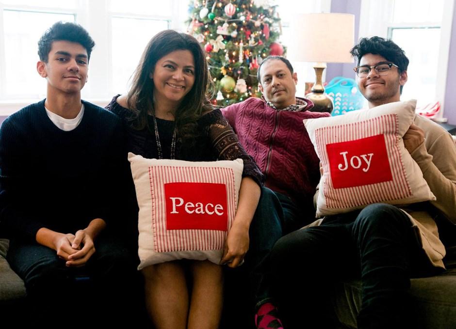 karen ahmed family on couch