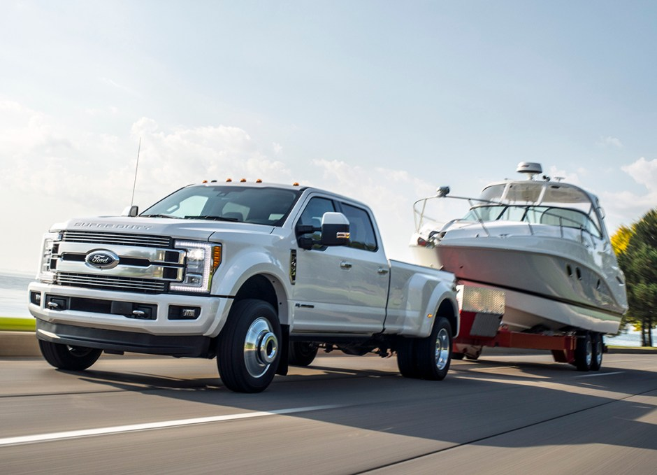 Pickup Truck ford superduty towing boat