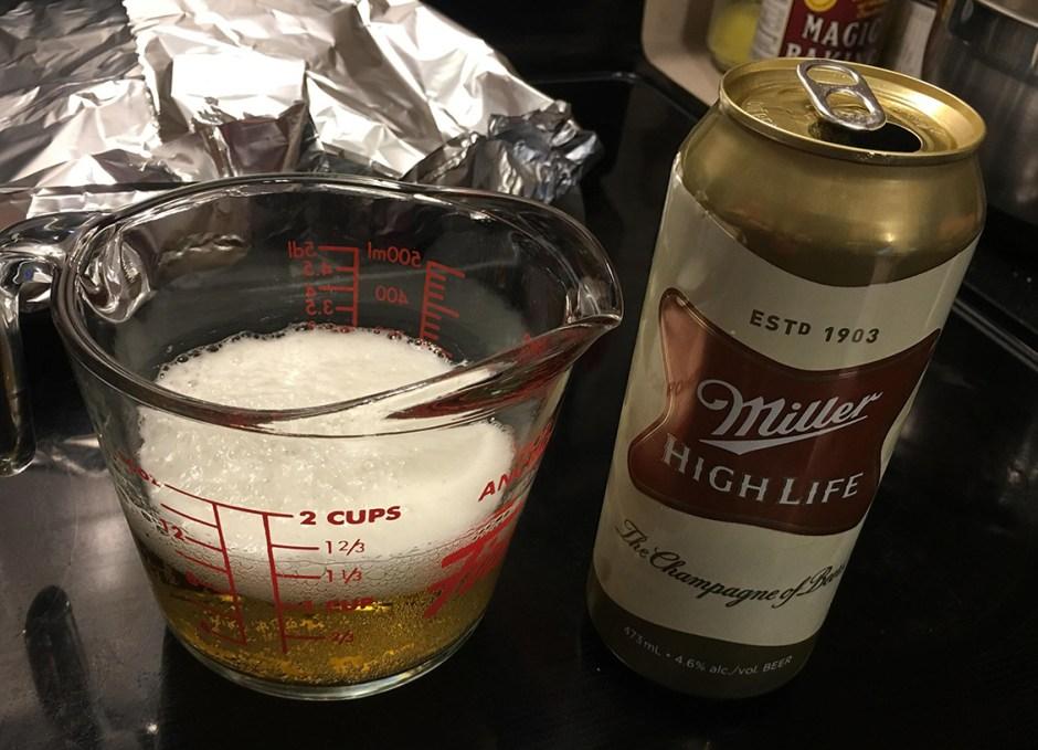 miller high life beer cornbread muffins measuring