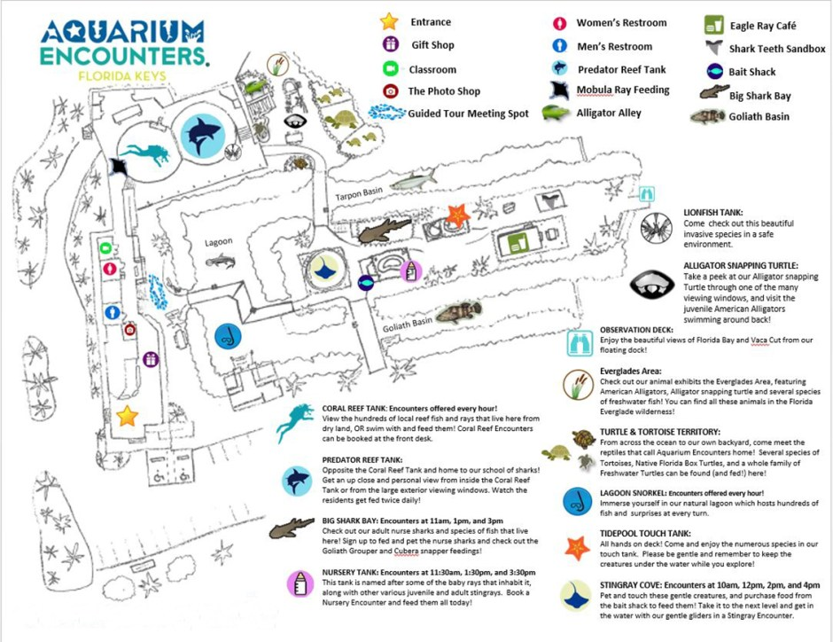 Aquarium Encounters map of the park