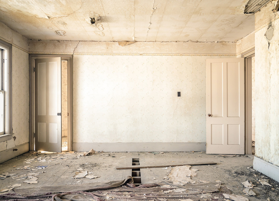 Renovation dilapidated room feature