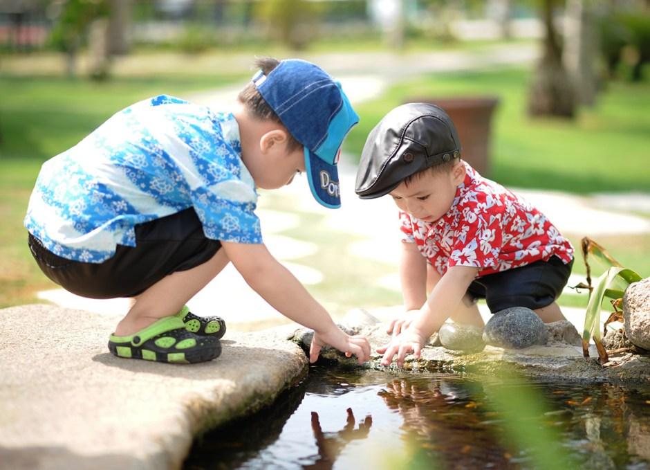 boys playing in garden