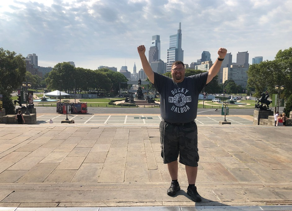 things to do in philly craig rocky steps facing camera