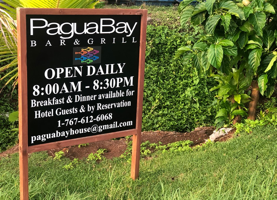 pagua bay bar and grill sign