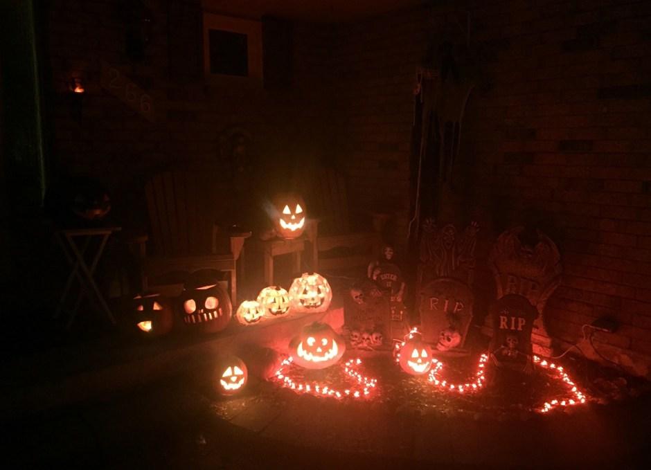 halloween lit graveyard