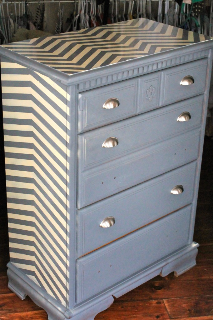Old Dresser Refinished With Chevron Painting Pattern