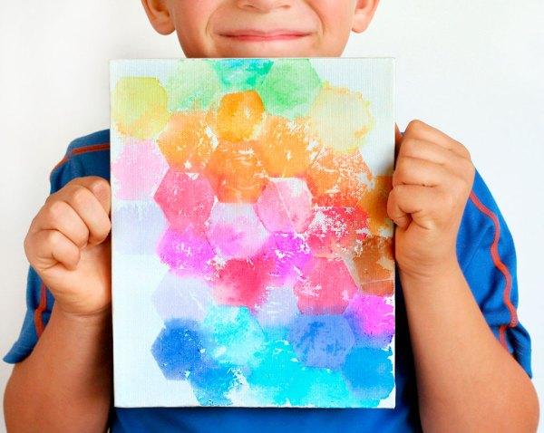Kids Tissue Paper Art On Canvas