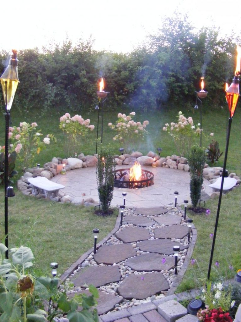 Perfect Torches with Flagstone Walkway for Inexpensive