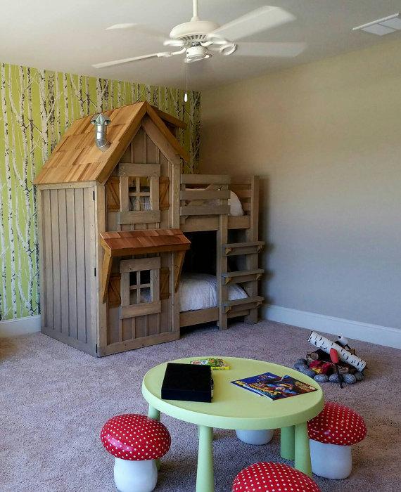 The Rustic Cabin Bunk Bed  BigDIYIdeascom