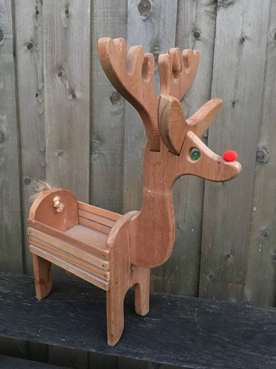 Village Reindeer Deer Box Basket Planter