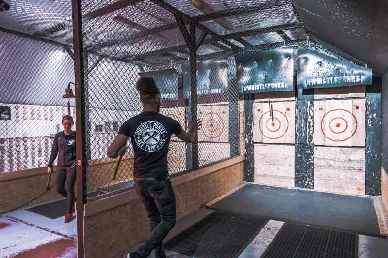 Axe throwing with Whistle Punks