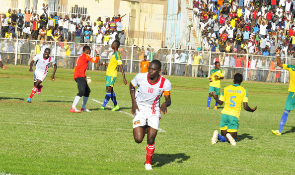 Uganda Crane's Farouk Miya celebrates his goal against Tanzania.