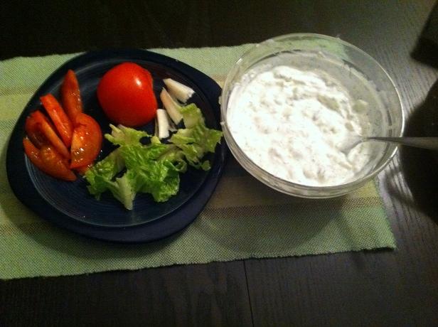 homemade tzatziki and vegetables