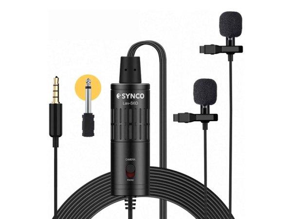 Synco-Lav-S6D-Doppio-microfono-omnidirezionale-lavalier-con-attacco-a-clip-bigfototaranto