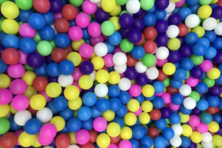 ball pit, bright colour balls