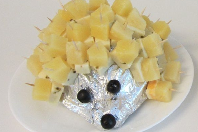 Cheese and pineapple hedgehog party food