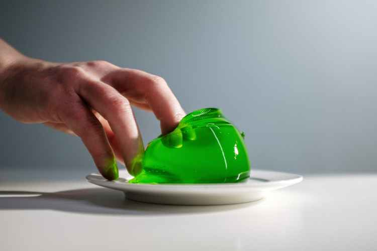 green jelly on a plate