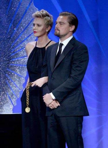 Leonardo DiCaprio & Charlize Theron at the GLAAD Media Awards