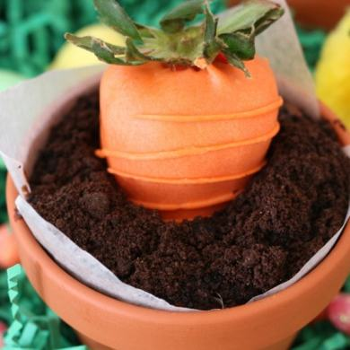 Chocolate Mousse Pots with Strawberry Carrots