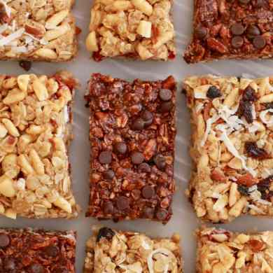 No Bake Granola Bars (Nut & Raisin, Peanut Butter & Jelly, Double Chocolate)
