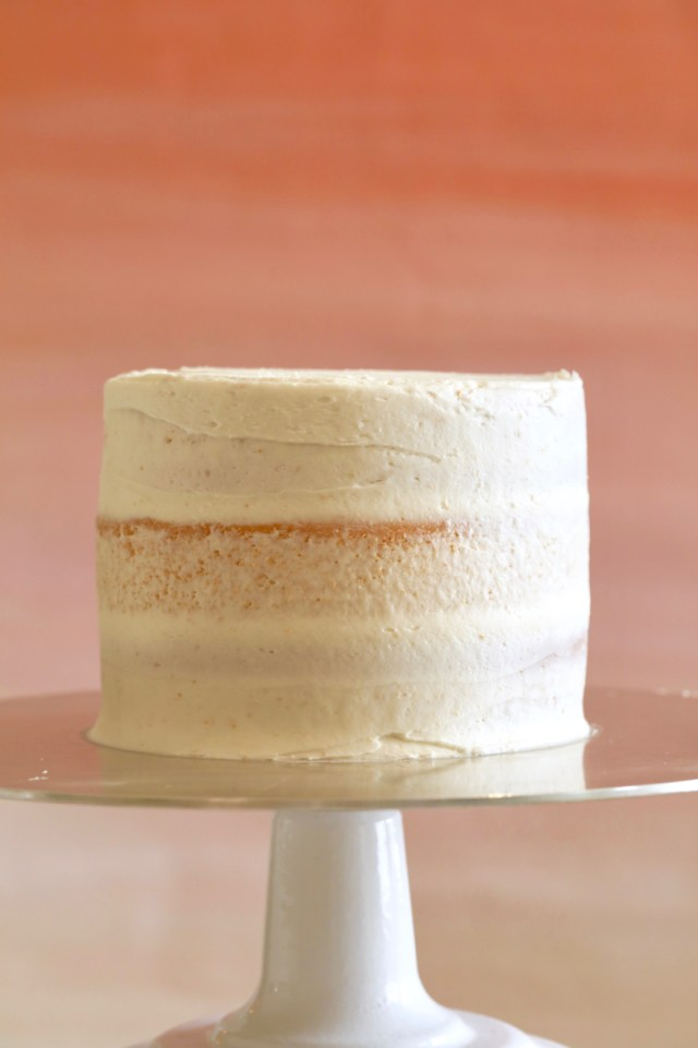 What a cake looks like after applying a crumb coat following the directions on How to Do A Crumb Coat