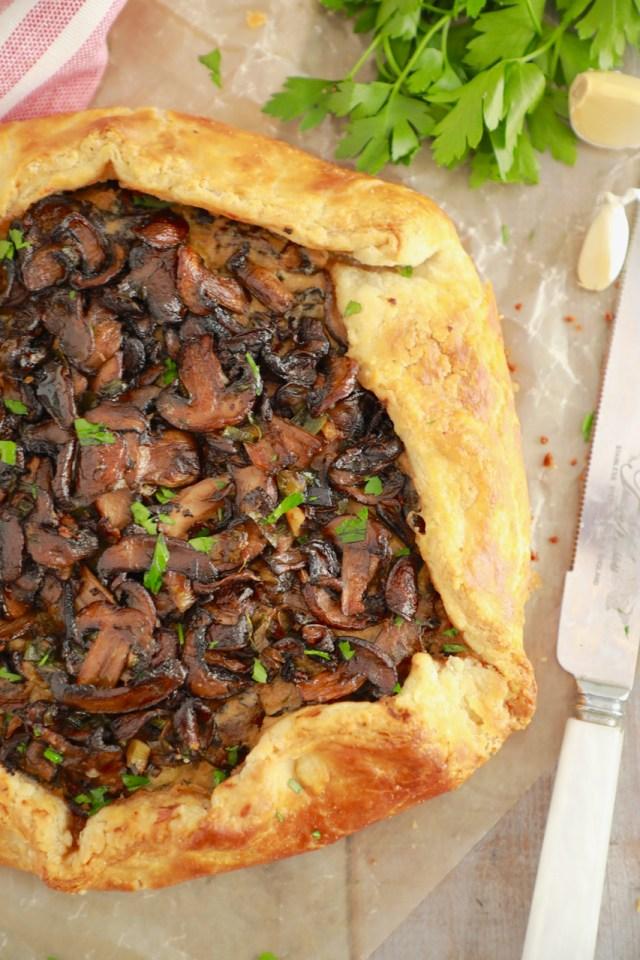 mushroom galette, galette recipe, savory galette, galette