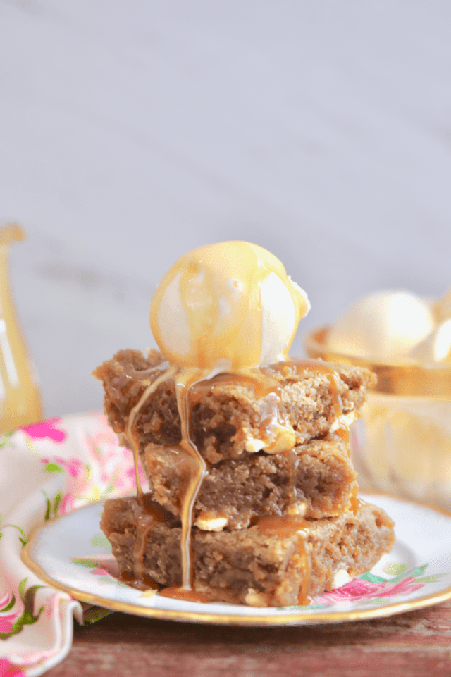 Microwave Butterscotch Blondies with ice cream on top, ready to enjoy.
