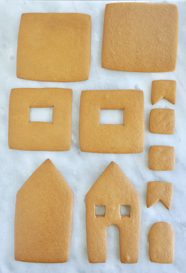 Baked Ultimate Homemade Gingerbread House Kit pieces, unassembled and not decorated yet.
