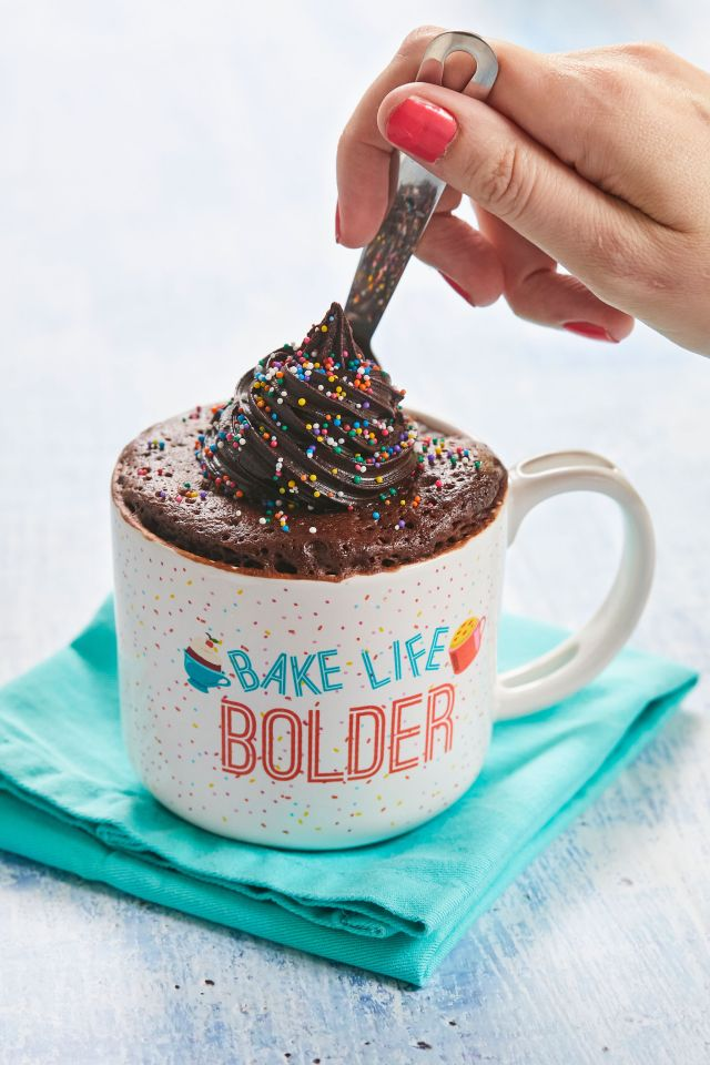 Taking a spoonful of my Best-Ever Chocolate Mug Cake