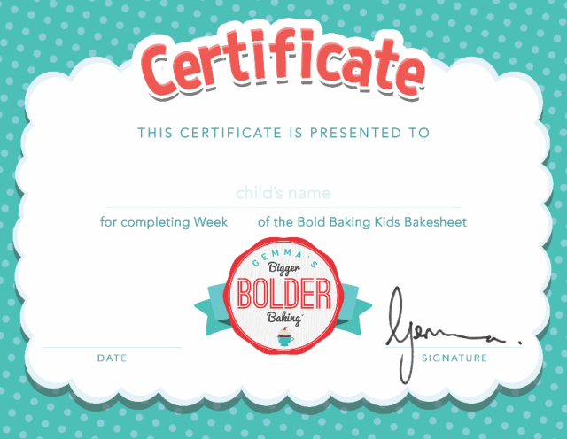 Certificate of completion for the Bold Baking Kids Bakesheets