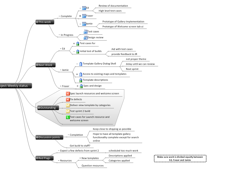 Project Weekly Status Meeting: MindGenius mind map