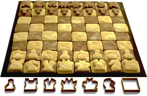 edible chess with brass biscuit shapes