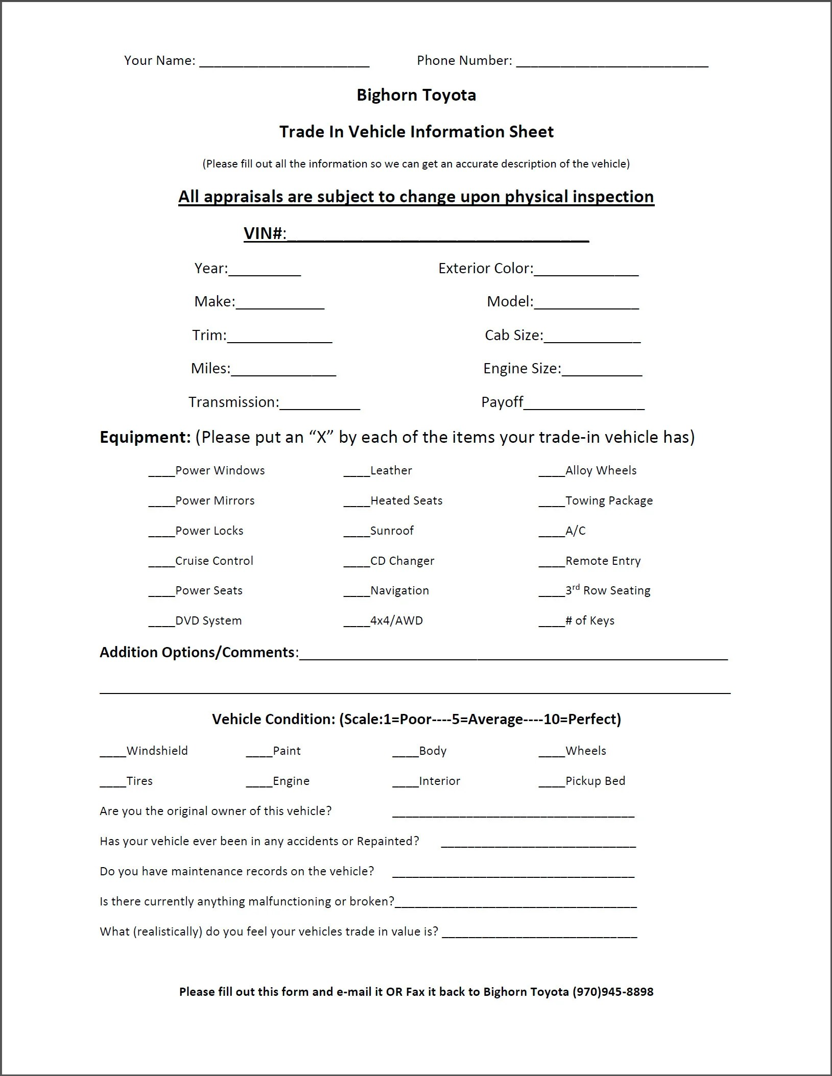 Trade Appraisal Printable Form