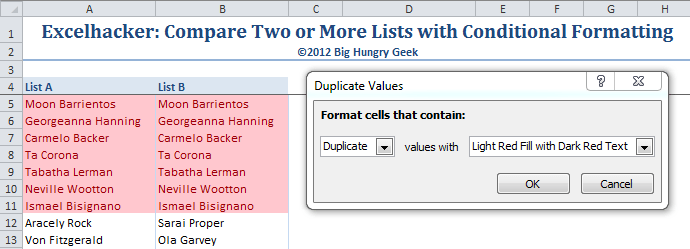 Apply conditional formatting to highlight duplicate values.