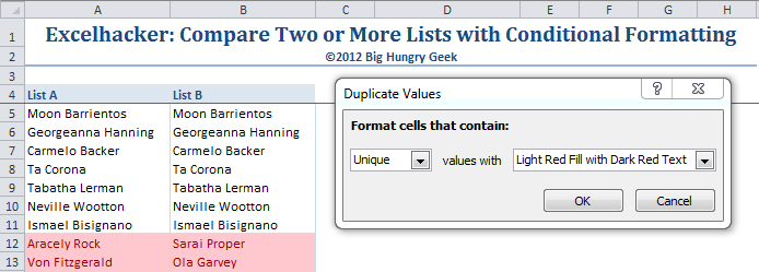 Apply conditional formatting to highlight unique values.