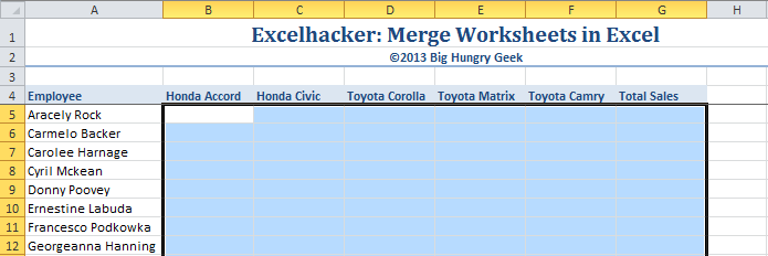 Merge Worksheets in Excel Big Hungry Geek – How to Merge Worksheets in Excel