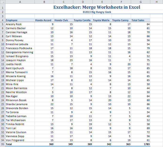 Merge Worksheets In Excel Big Hungry Geek