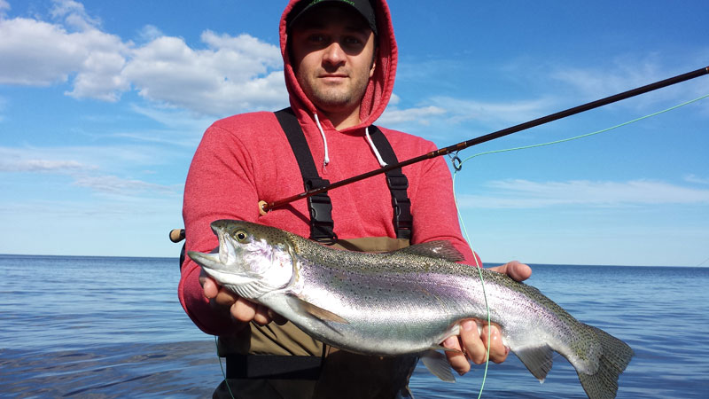 Philip Hoberg with a fat Lake Superior Rainbow Trout