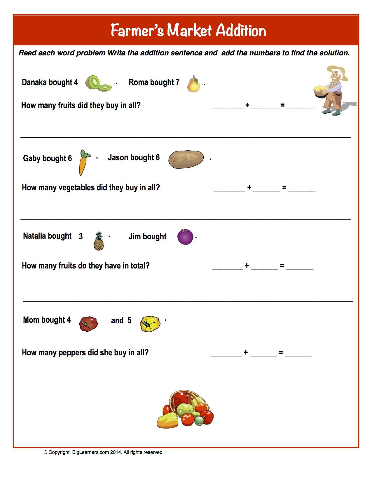 Farmer Math Worksheets